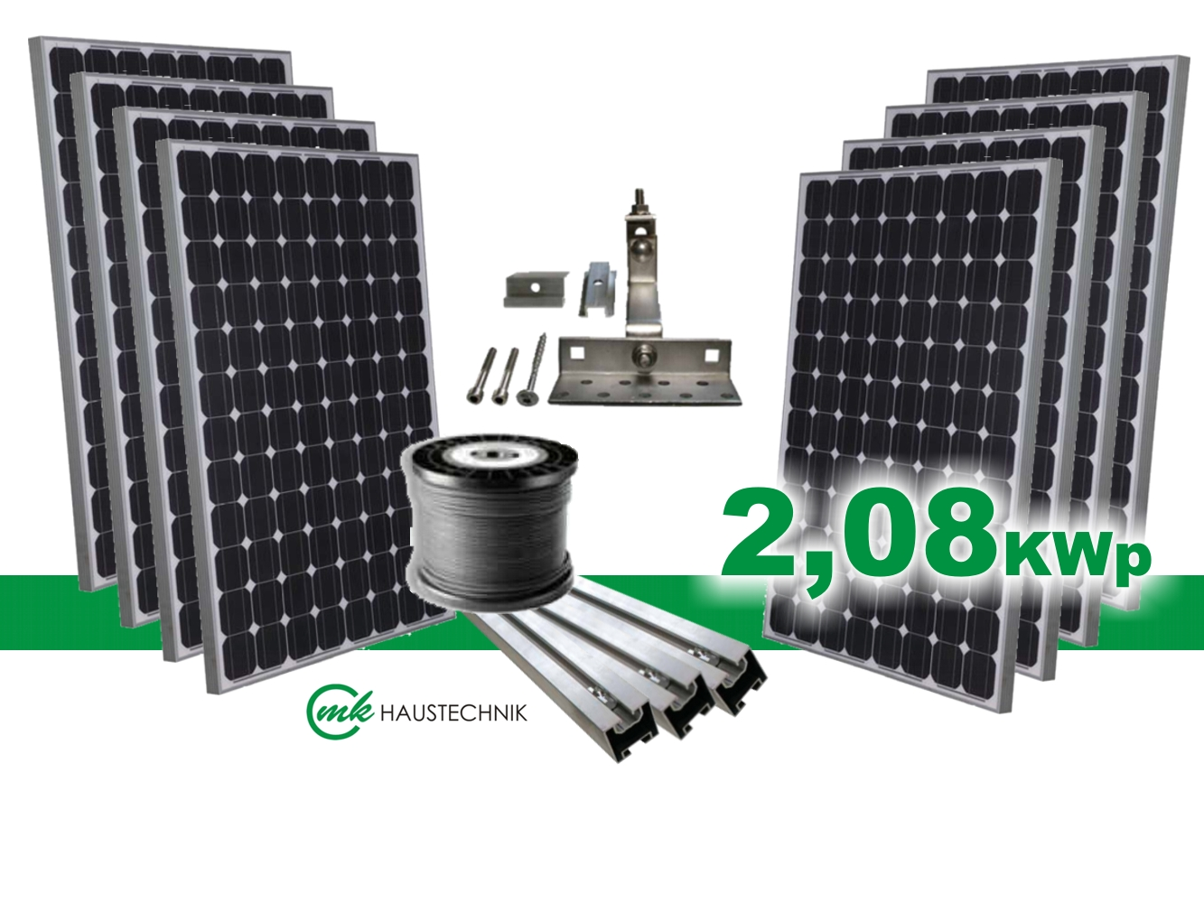 solaranlage bausatz photovoltaikanlage 2 08kwp solarmodule ohne wechselrichter ebay. Black Bedroom Furniture Sets. Home Design Ideas