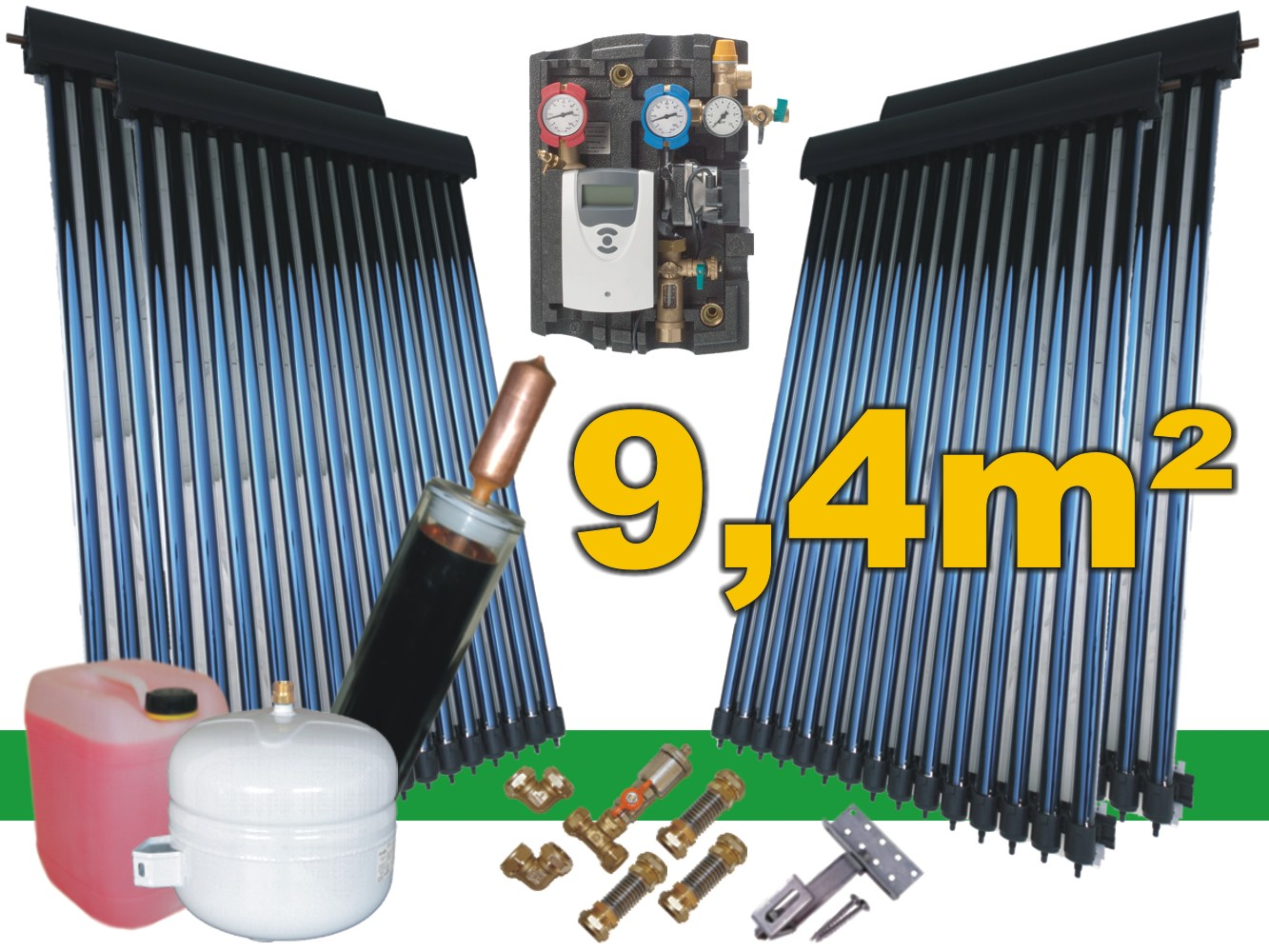 solaranlage komplettpaket 9 4 m bafa r hrenkollektor warmwasser power heatpipe ebay. Black Bedroom Furniture Sets. Home Design Ideas