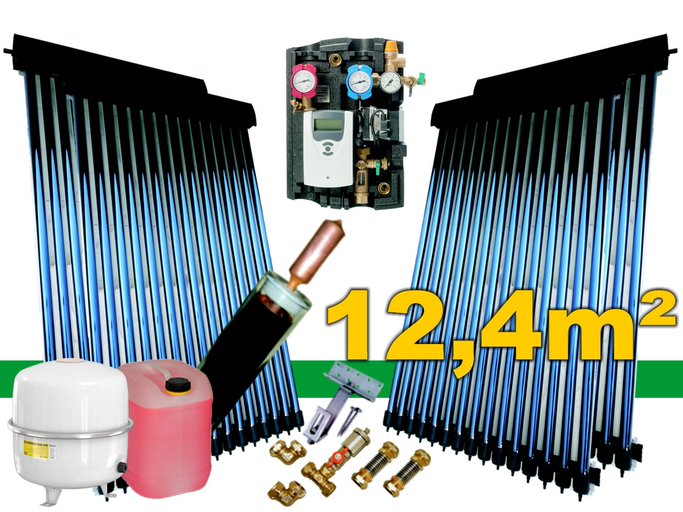 solaranlage komplettpaket r hren kollektor bafa 12 4 m mit 24mm power heatpipe. Black Bedroom Furniture Sets. Home Design Ideas