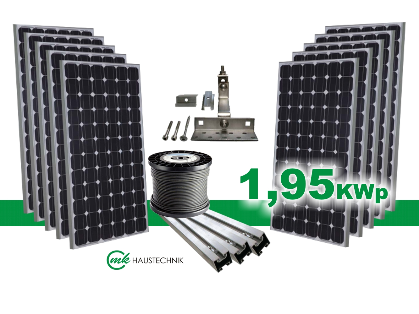 solaranlage bausatz photovoltaikanlage 1 95kwp solarmodule ohne wechselrichter ebay. Black Bedroom Furniture Sets. Home Design Ideas